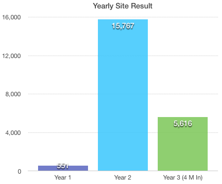 Yearly result for the site